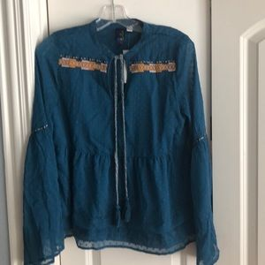 Francesca's teal peasant blouse NWT size S